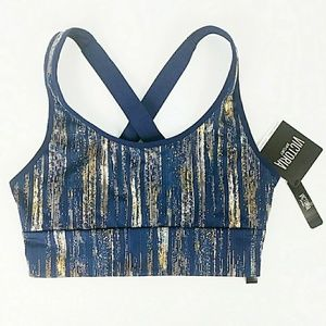 NWT Victoria Sport Blue Gold The Player Bra XS